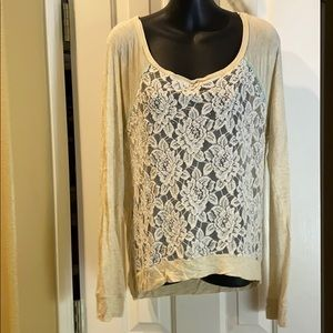 JOLT cream floral sheer front with bling
